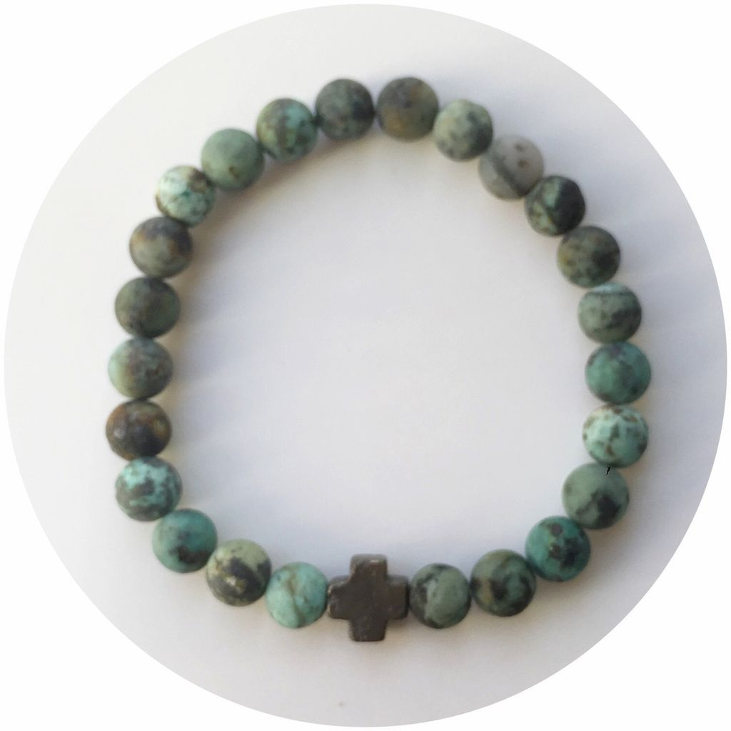 Bracelet Mens Matte African Turquoise with Pyrite Cross by Oriana Lamarca