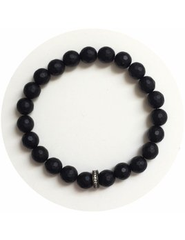 Bracelet Mens Matte Black Onyx with Gunmetal Pavé Accent by Oriana Lamarca