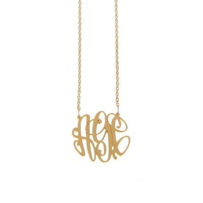 Necklace Elizabeth Filigree Gold Monogram Necklace - Medium