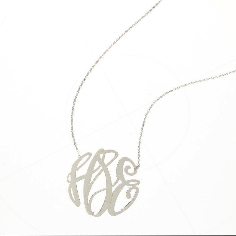 Necklace Elizabeth Filigree Silver Monogram Necklace - XL