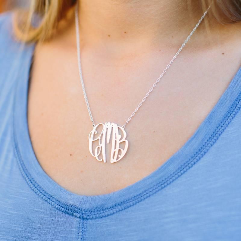 Necklace Elizabeth Filigree Silver Monogram Necklace - Medium