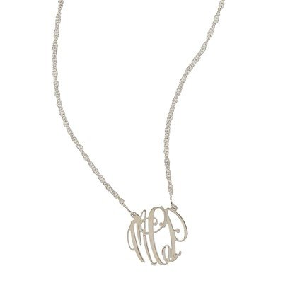Necklace Elizabeth Filigree Silver Monogram Necklace - Small