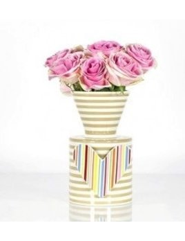 Vase Stone Stripe Happy Everything Mini Vase