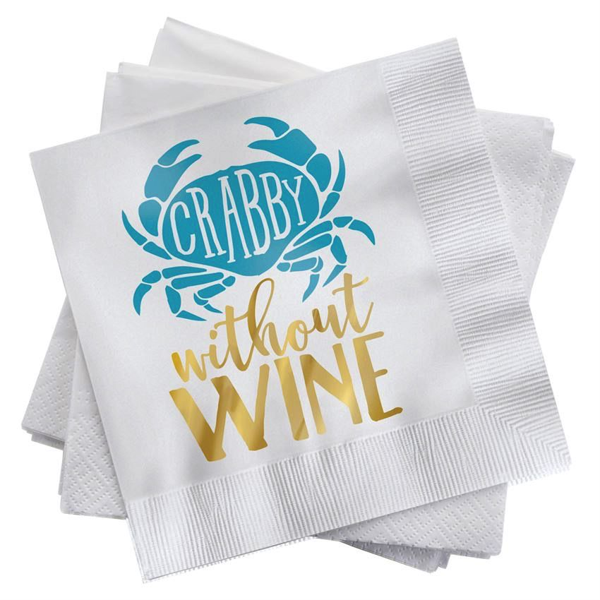 Beach Happy Hour Napkin Set - Crabby Without Wine
