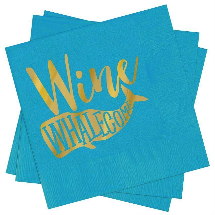 Beach Happy Hour Napkin Set - Wine Whalecome
