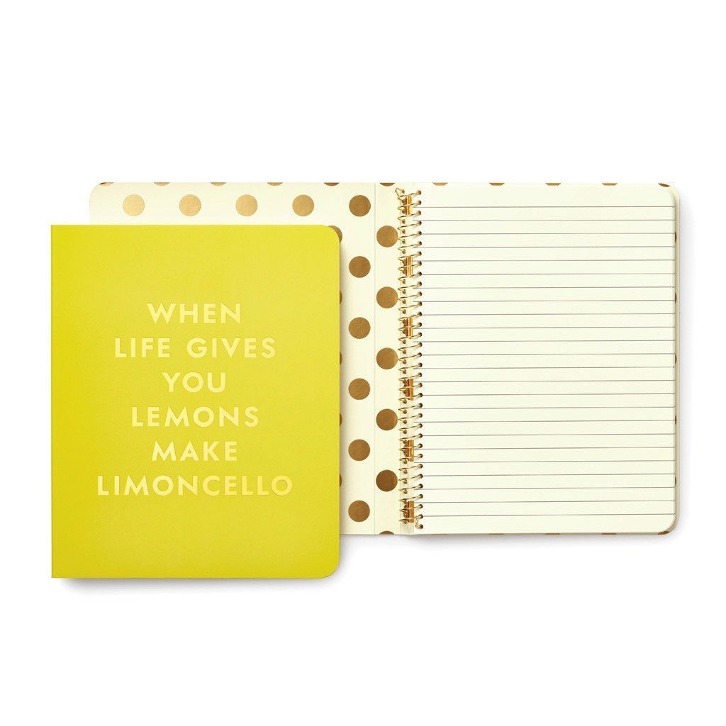 Kate Spade Concealed Spiral Notebook - Limoncello
