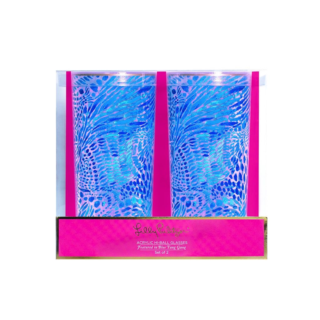 Glasses Lilly Pulitizer Acrylic Hi-Ball Glass Set, Blue Tang Gang