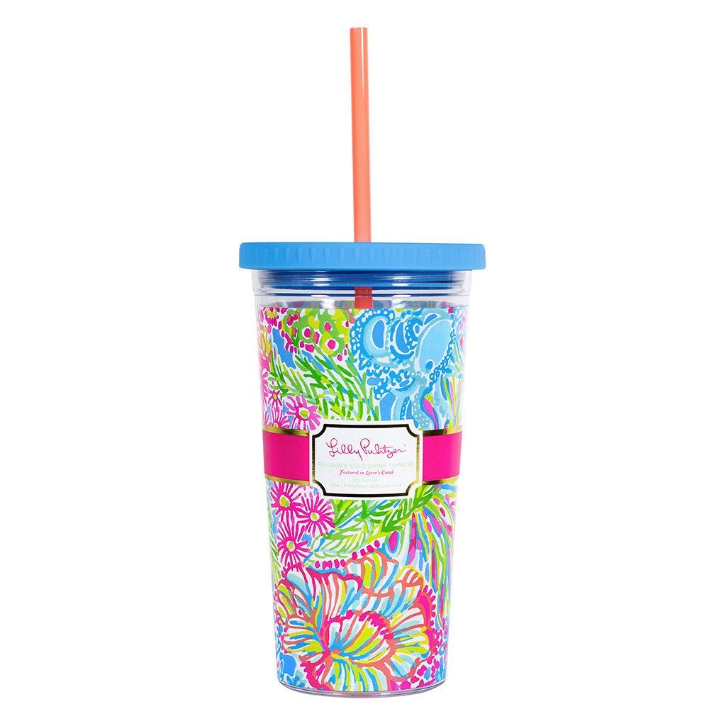 Tumbler Lilly Pulitzer Reusable Cold Drink Tumbler - Lover's Coral