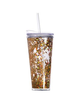 Tumbler Gold Confetti Acrylic Tumbler with Lid and Straw