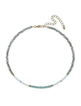 Aqua Glass Bead Memory Choker