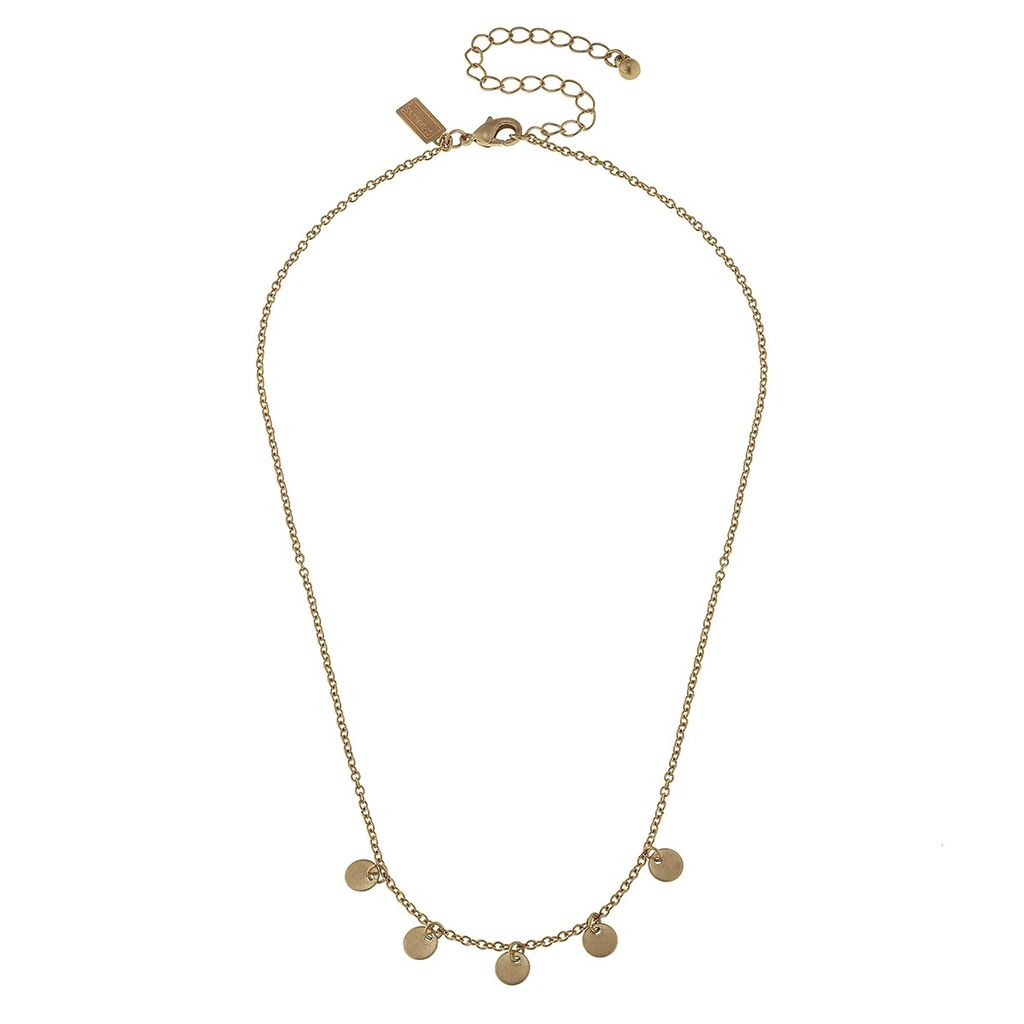Necklace Disc Drip Chain Gold Necklace