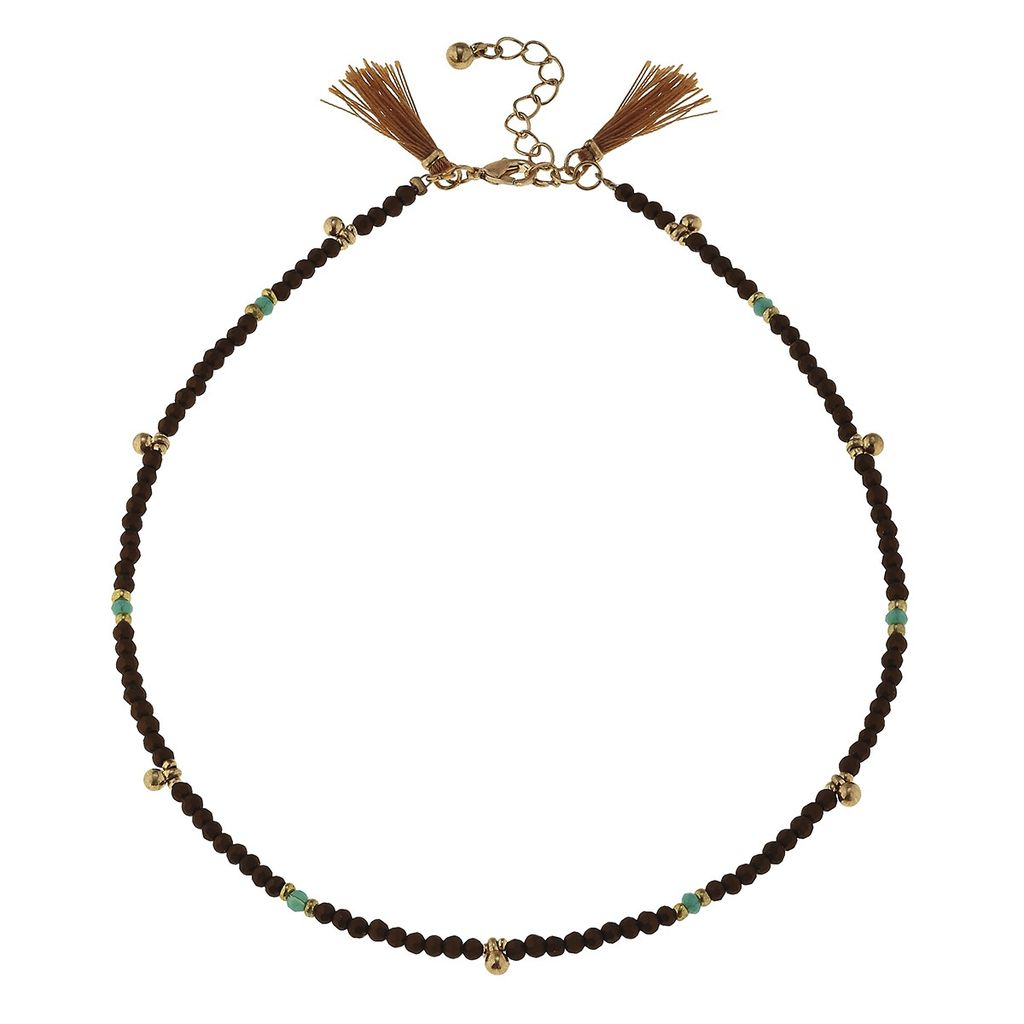 Necklace Bronze Bead Glass Necklace with Tassels