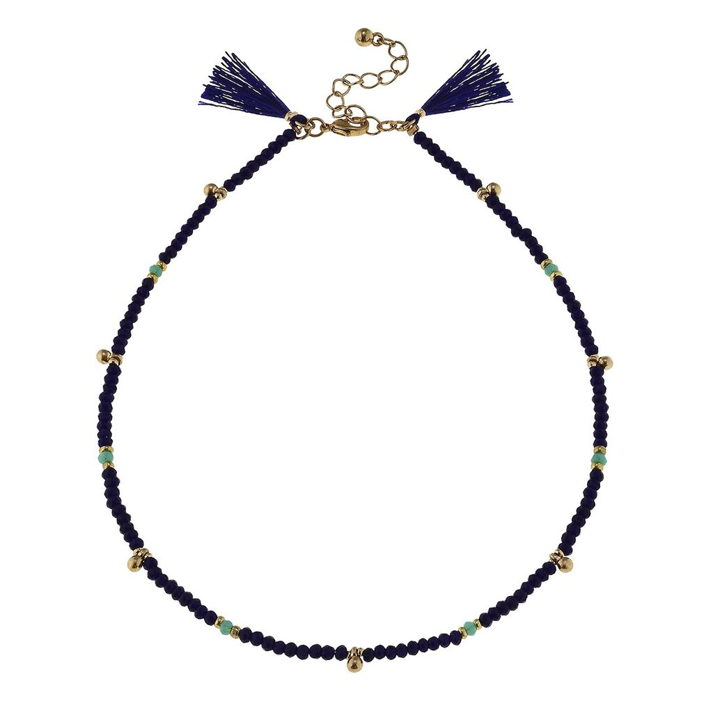 Necklace Navy Bead Glass Necklace with Tassels