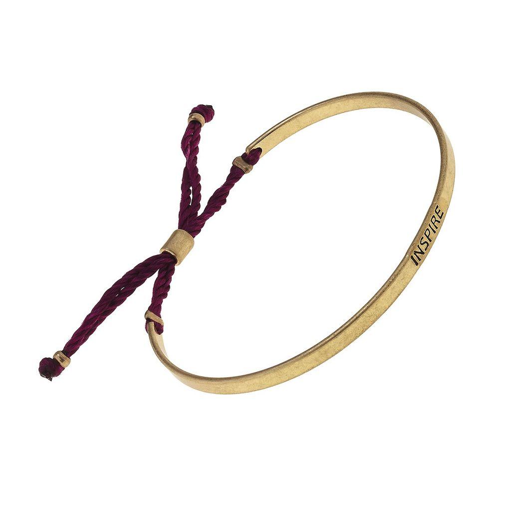 "Bracelet ""Inspire"" Cuff Fabric Slide Bead Bracelet - Burgundy"