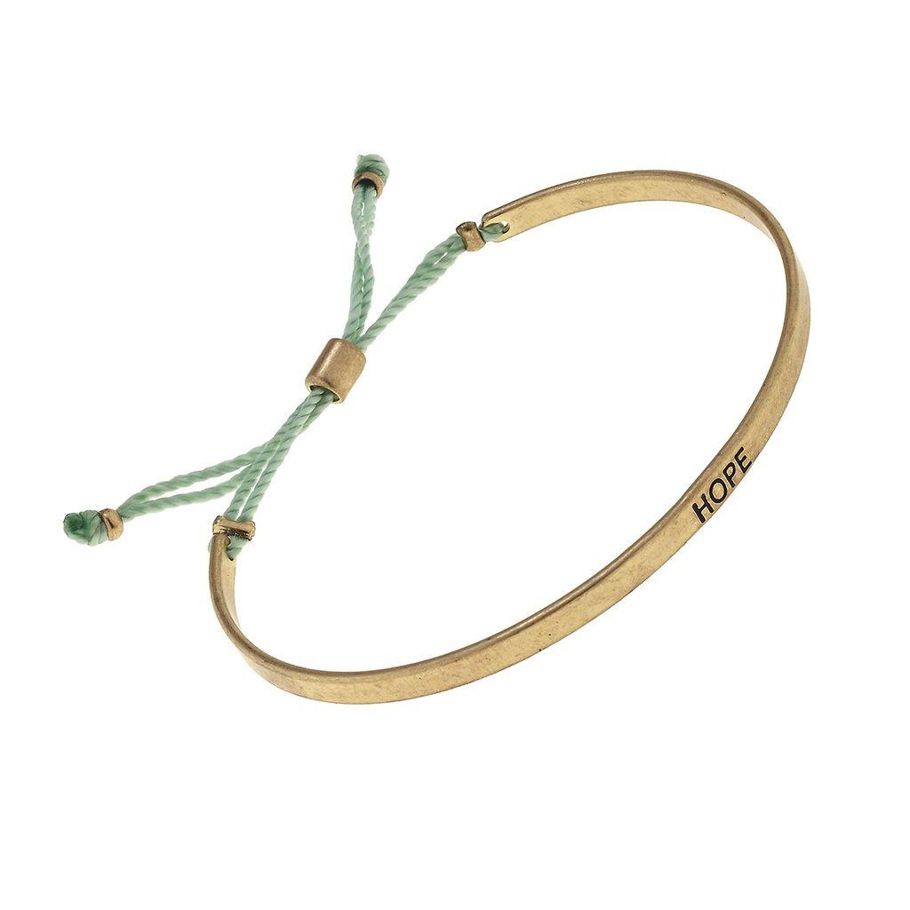 """Bracelet """"Hope"""" Cuff Fabric Slide Bead Bracelet - Mint Green"""