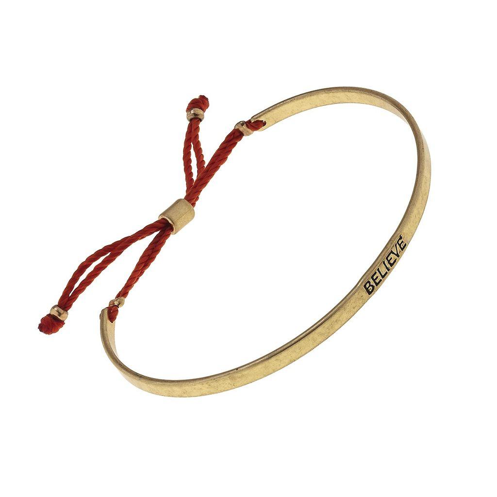 "Bracelet ""Believe"" Cuff Fabric Slide Bead Bracelet - Dark Orange"