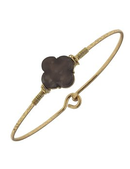 Delicate Quatrefoil Latch Bangle - Brown Mother of Pearl