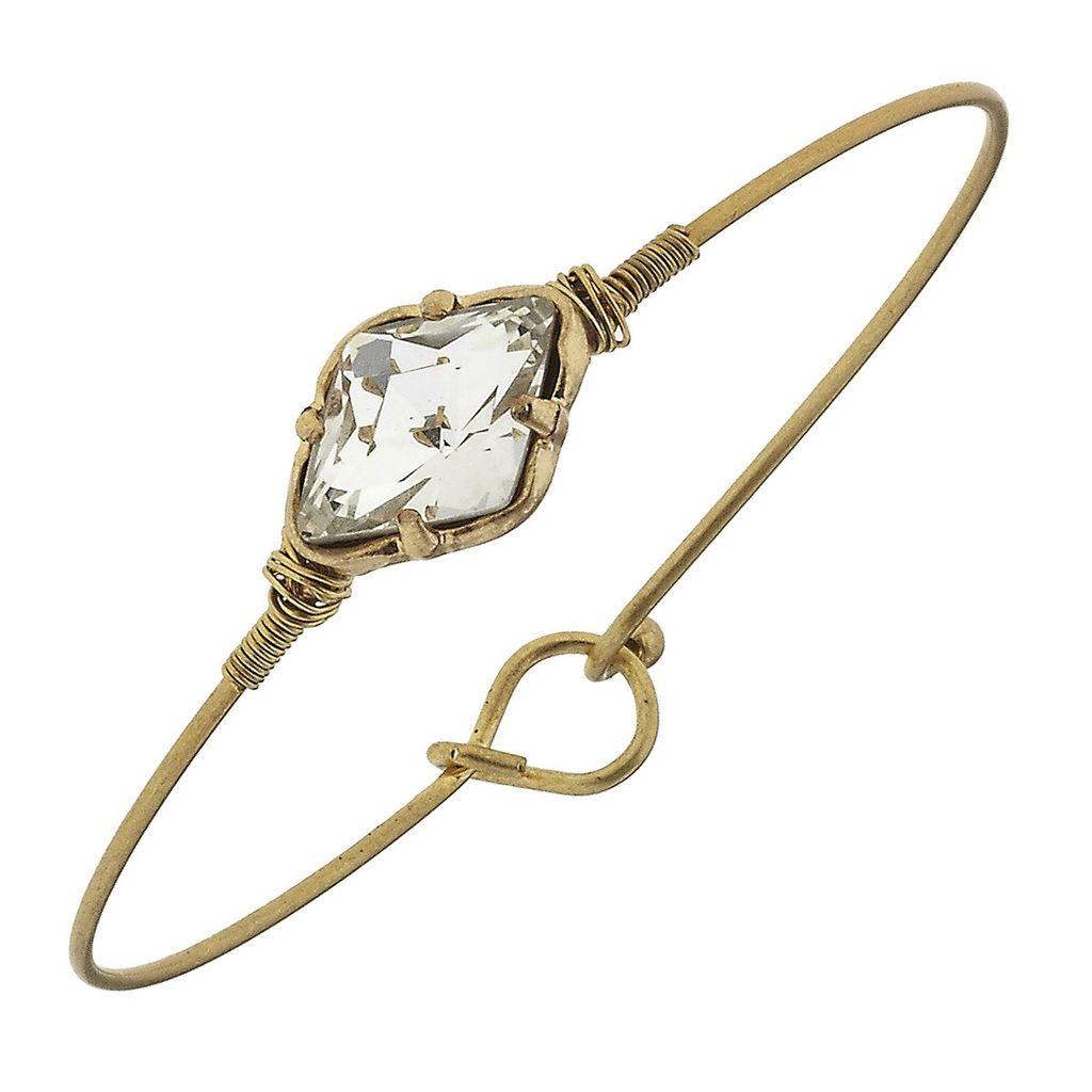 Bracelet Delicate Moraccan Latch Bangle - Clear Glass