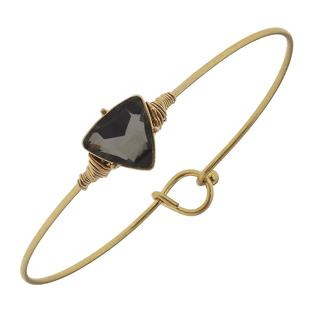Bracelet Delicate Triange Latch Bangle - Black Diamond Glass