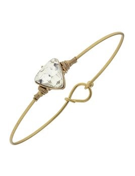 Bracelet Delicate Triange Latch Bangle - Clear Glass