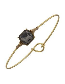 Bracelet Delicate Square Latch Bangle - Black Diamond Glass