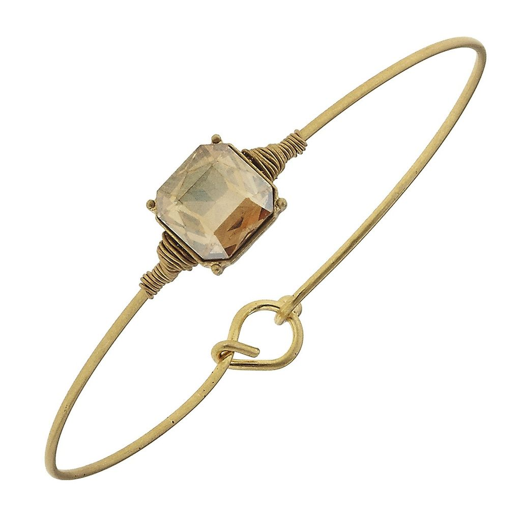 Bracelet Delicate Square Latch Bangle - Champagne Glass