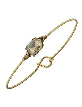 Bracelet Delicate Rectangle Latch Bangle - Champagne Glass