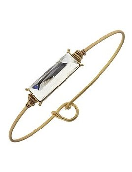 Bracelet Delicate Rectangle Latch Bangle - Platinum Glass