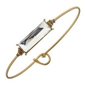 Bracelet Delicate Rectangle Latch Bangle - Platinum Glass