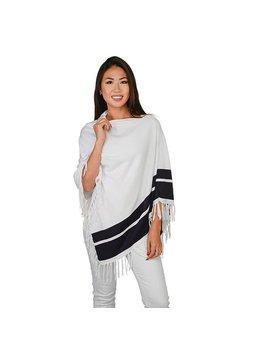 Poncho Fringe Poncho - White with Navy Stripes