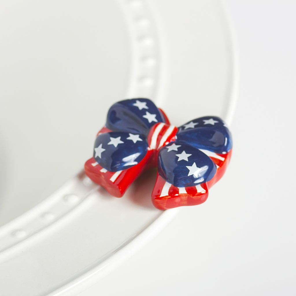 Minis Attachment Nora Fleming Minis - Red, White, & Blue Bow