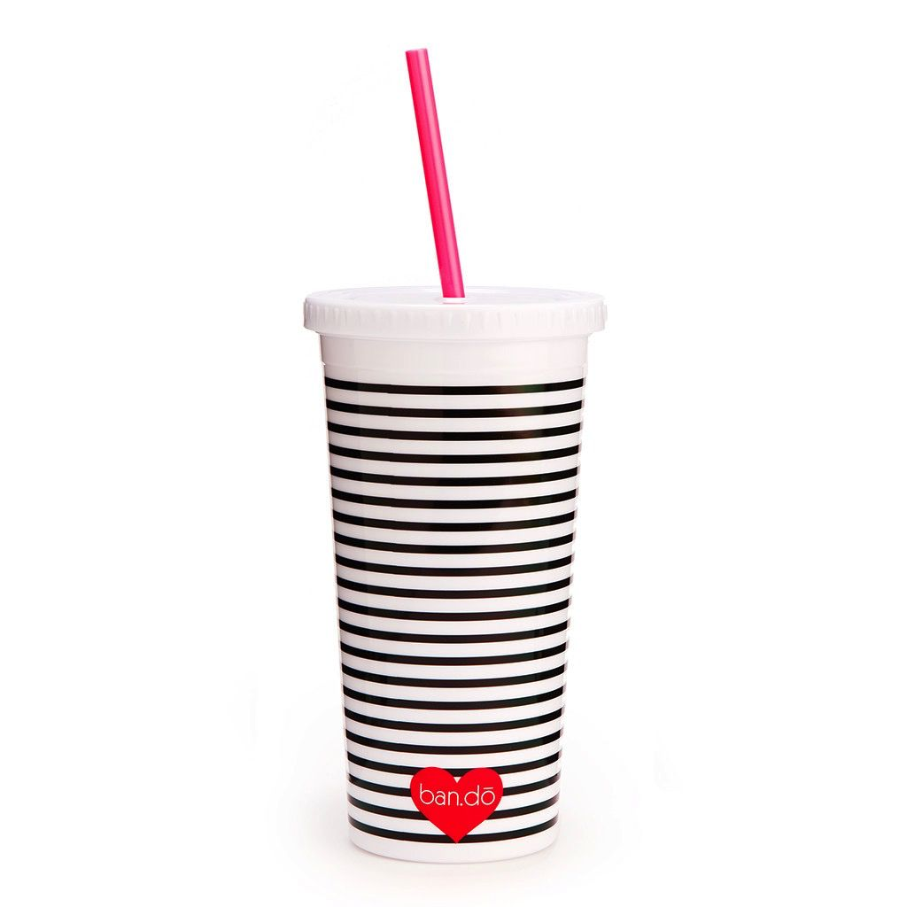 Tumbler ban.do Sip Sip Tumbler with Straw - Neon Heart with Stripes