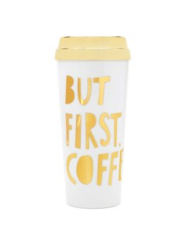 Mug ban.do Deluxe Hot Suff Thermal Mug - But First Coffee - Metallic Gold