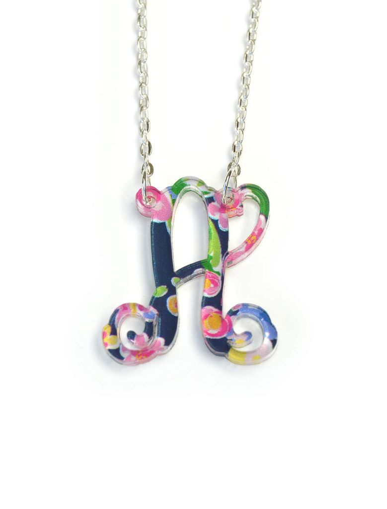 Necklace Patterned Initial Necklace - Vine Font