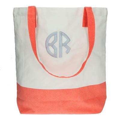 Tote Bag Embroidered Color Block Tote