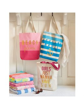 Tote Beach Sentiment Canvas Tote