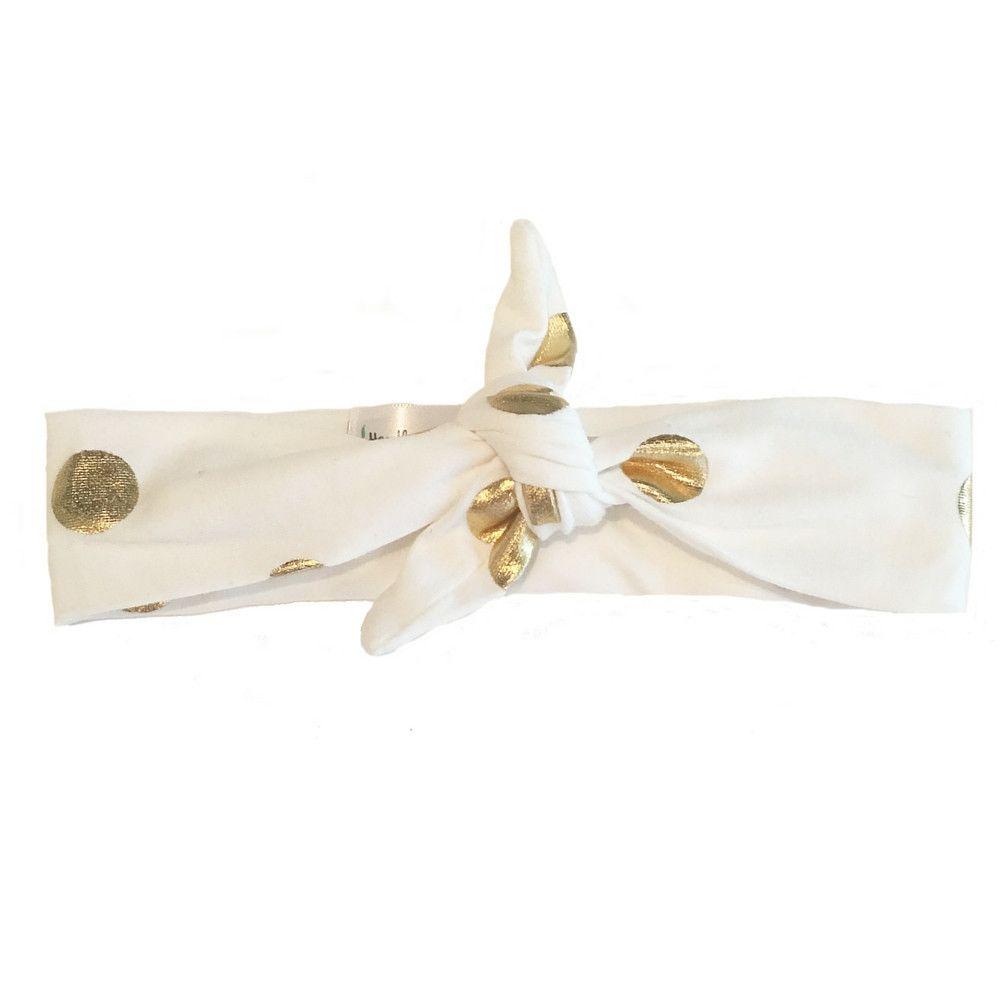 Headband Gold Polka Dot Knotted Headband by Headbands of Hope