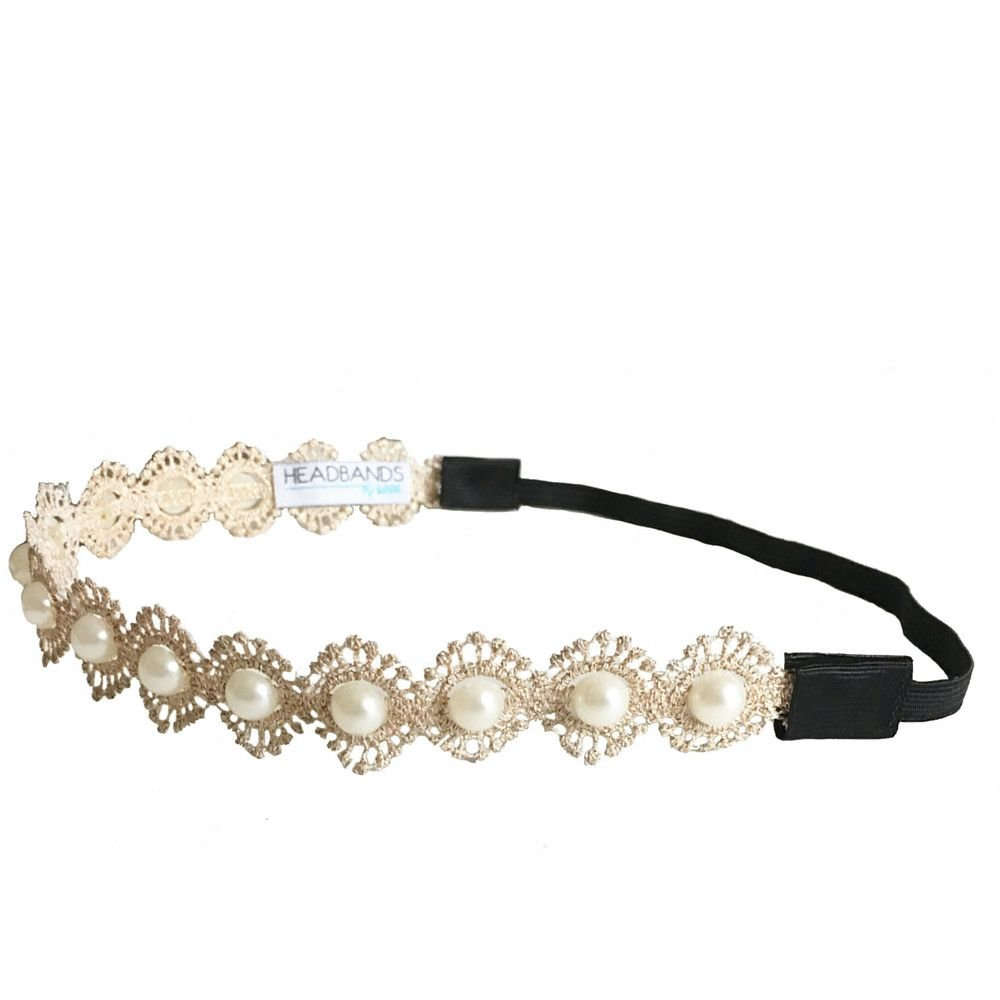 Headband Gold Dainty Pearl Headband by Headbands of Hope