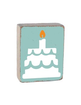 Sea Glass Tumbling Block, White Birthday Cake