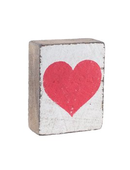 White Tumbling Block, Red Heart
