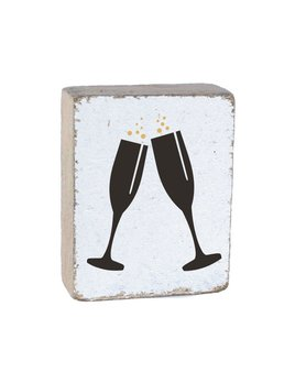 White Tumbling Block, Black Champagne Glasses