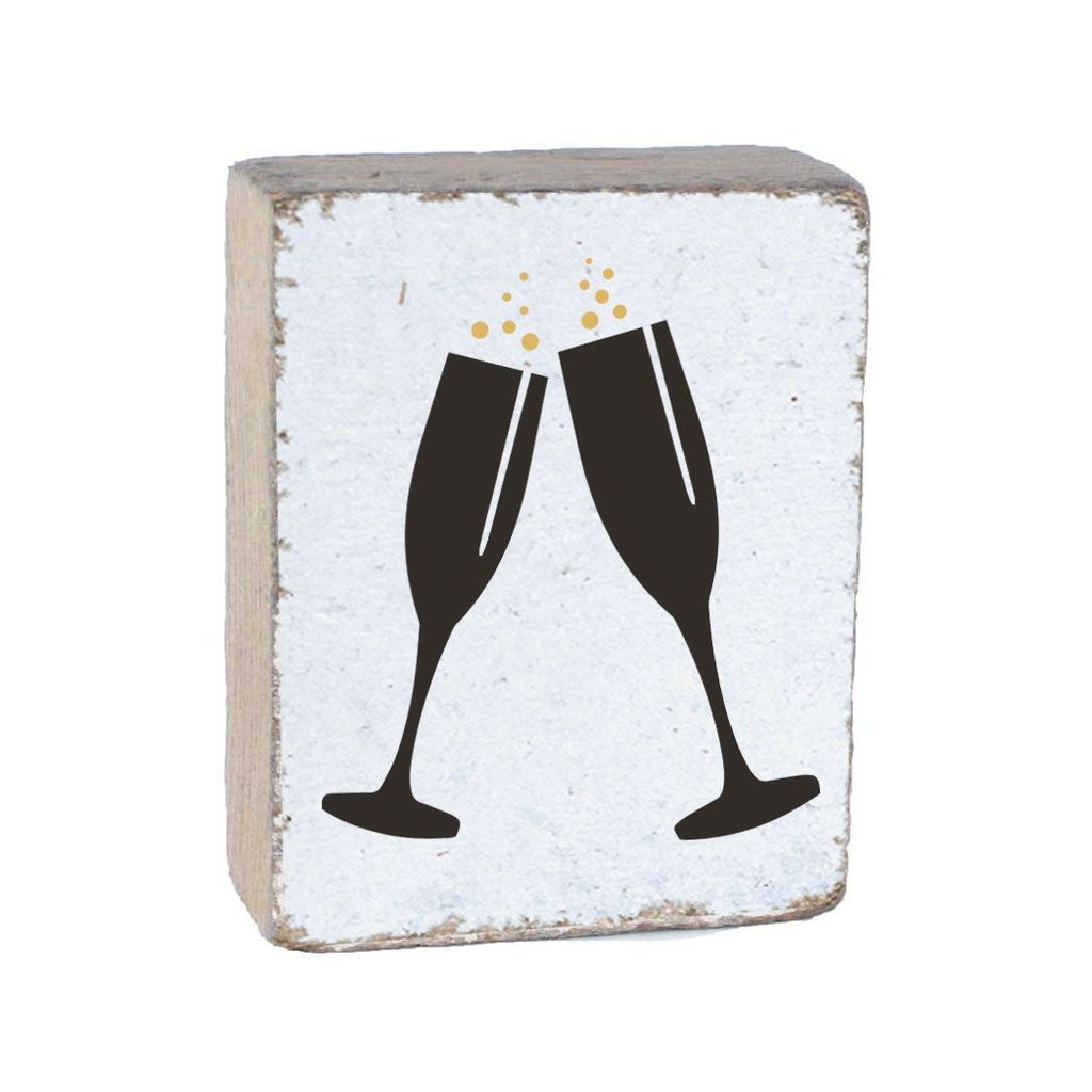 White Tumbling Block, Black Champagne Glasses