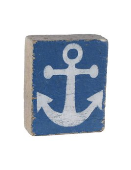 Blueberry Tumbling Block, White Anchor