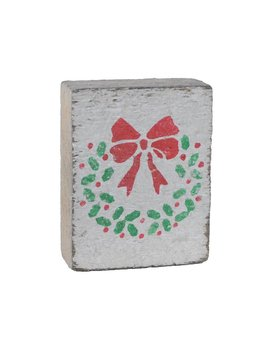 White Tumbling Block, Green/Red Wreath