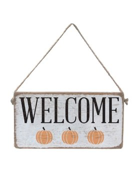 Sign Welcome Three Pumpkin - Mini Plank