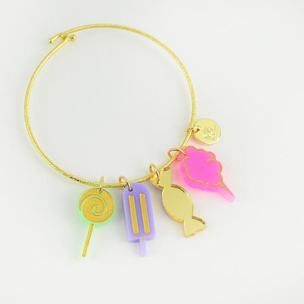 Cotton Candy Acrylic Cutout Charm by Moon and Lola