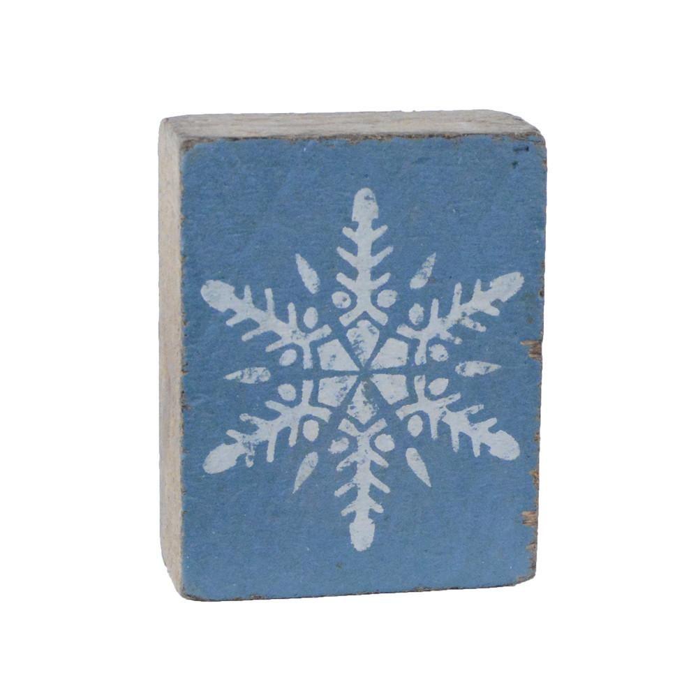 Victory Blue Tumbling Block, White Snowflake