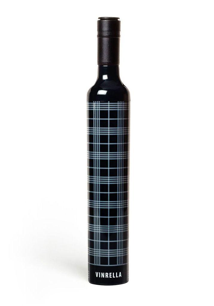 Umbrella Wine Bottle Umbrella - Black Plaid