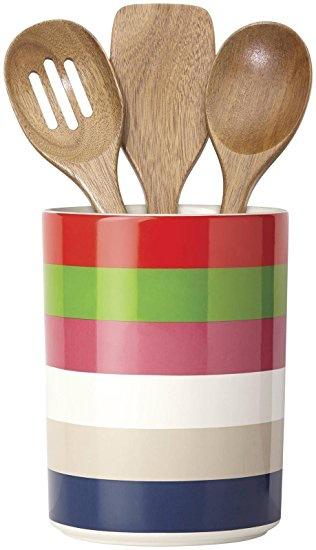 Kate Spade New York All In Good Taste Utensil Crock & Wood Utensils by Lenox