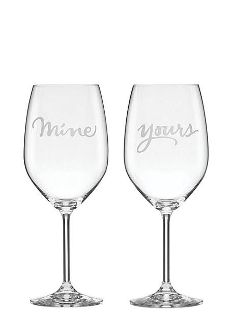 Wine Glass Kate Spade New York Mine & Yours Glass Set by Lenox